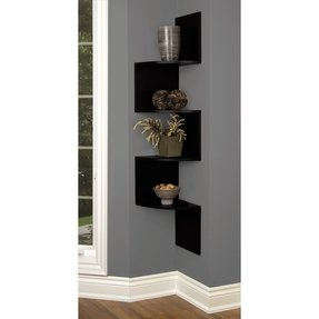 nexxt Provo Series Black Corner Mounted Accent Shelf, 12 by 57 by 12-Inch