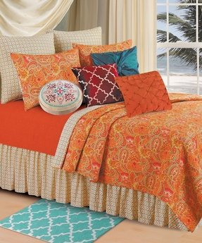 Orange paisley bedding 11