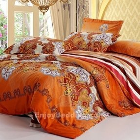 Orange paisley bedding 2