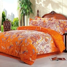 Orange paisley bedding 9