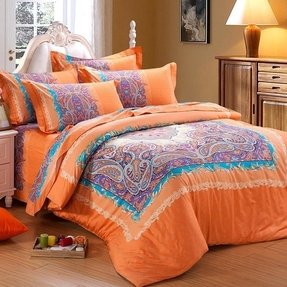 Orange Paisley Bedding