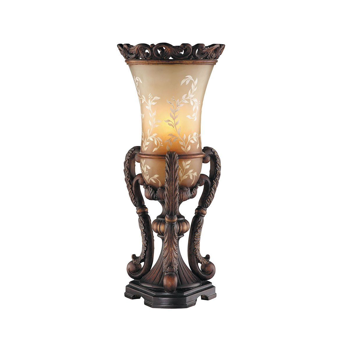 "Ornate Hand Painted Uplight 21.25"" H Table Lamp with Bell Shade"