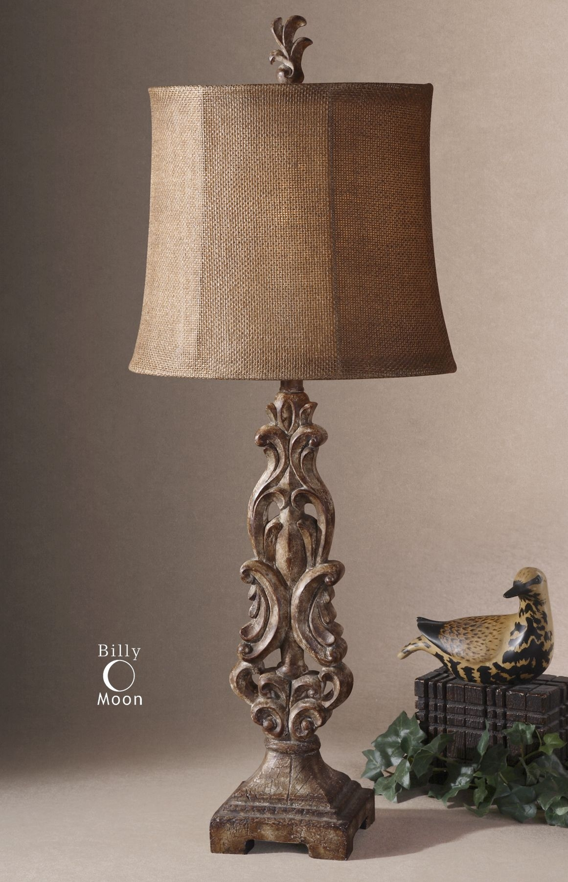 Ornate Scroll Work Old World Italian Table Lamp European Light Neiman Marcus