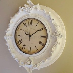 Ornate wall clock very french baroque style off white with