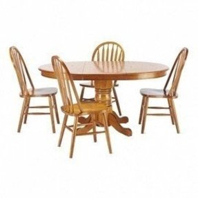 Round dining table set with leaf 2