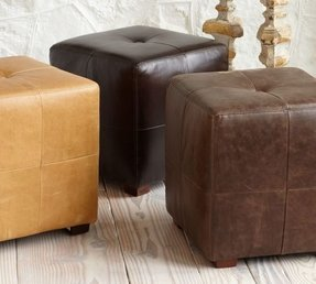 Small leather ottoman cube 7