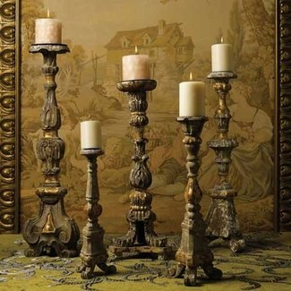 Tall wooden candle holders 1
