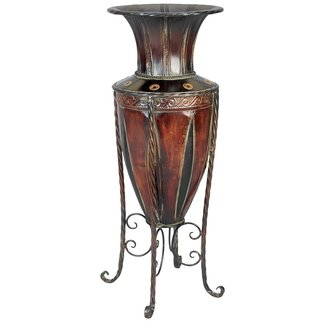 Tuscan old metal planter vase stand tall table floor antique