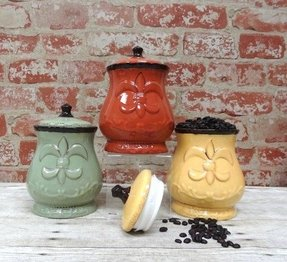 "Tuscany Colorful Hand Painted Fleur De Lis 7""H Canisters, Set of 3, 82002 by ACK"