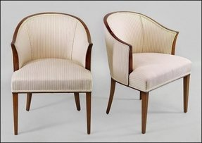 Upholstered barrel back chairs