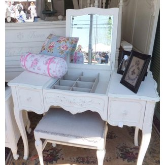 Vanity with fold down mirror