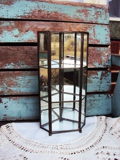 Vintage mirror glass and metal curio