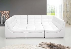 White leather modern sectional