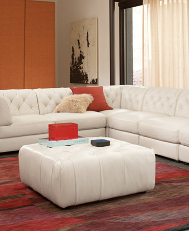 White Leather Modular Sectional 1