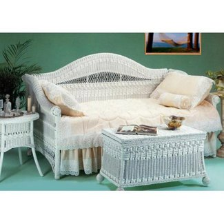Yesteryear Wicker Classic Wicker Daybed, White, Wicker, Twin