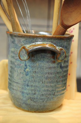 6 tall stoneware pottery utensil holder in by cathysclaycreations