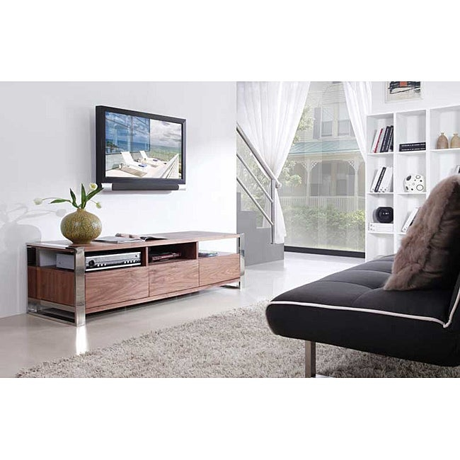 Adrianna Light Walnut Stainless Steel Modern Tv Stand