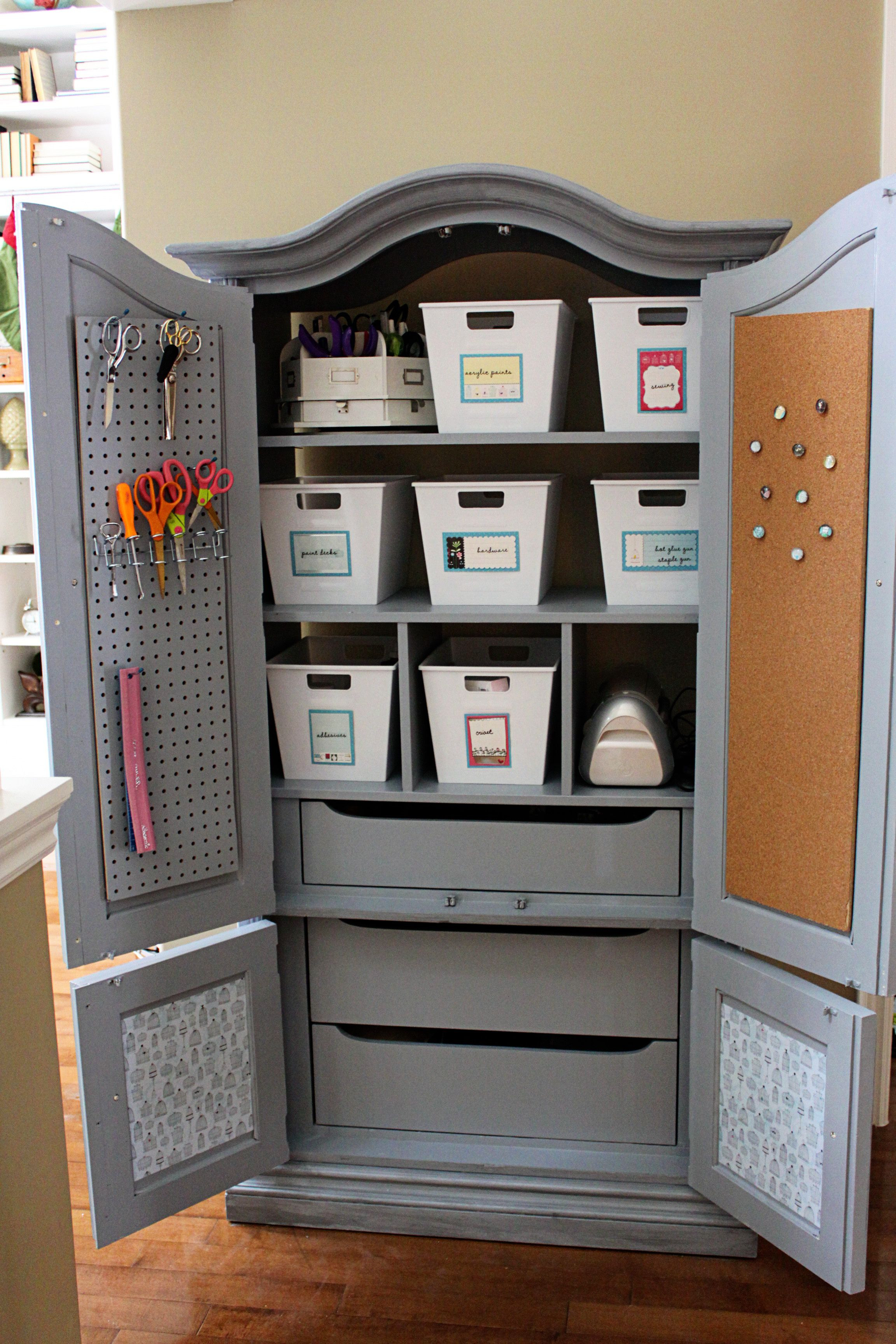 Armoire with shelves and drawers