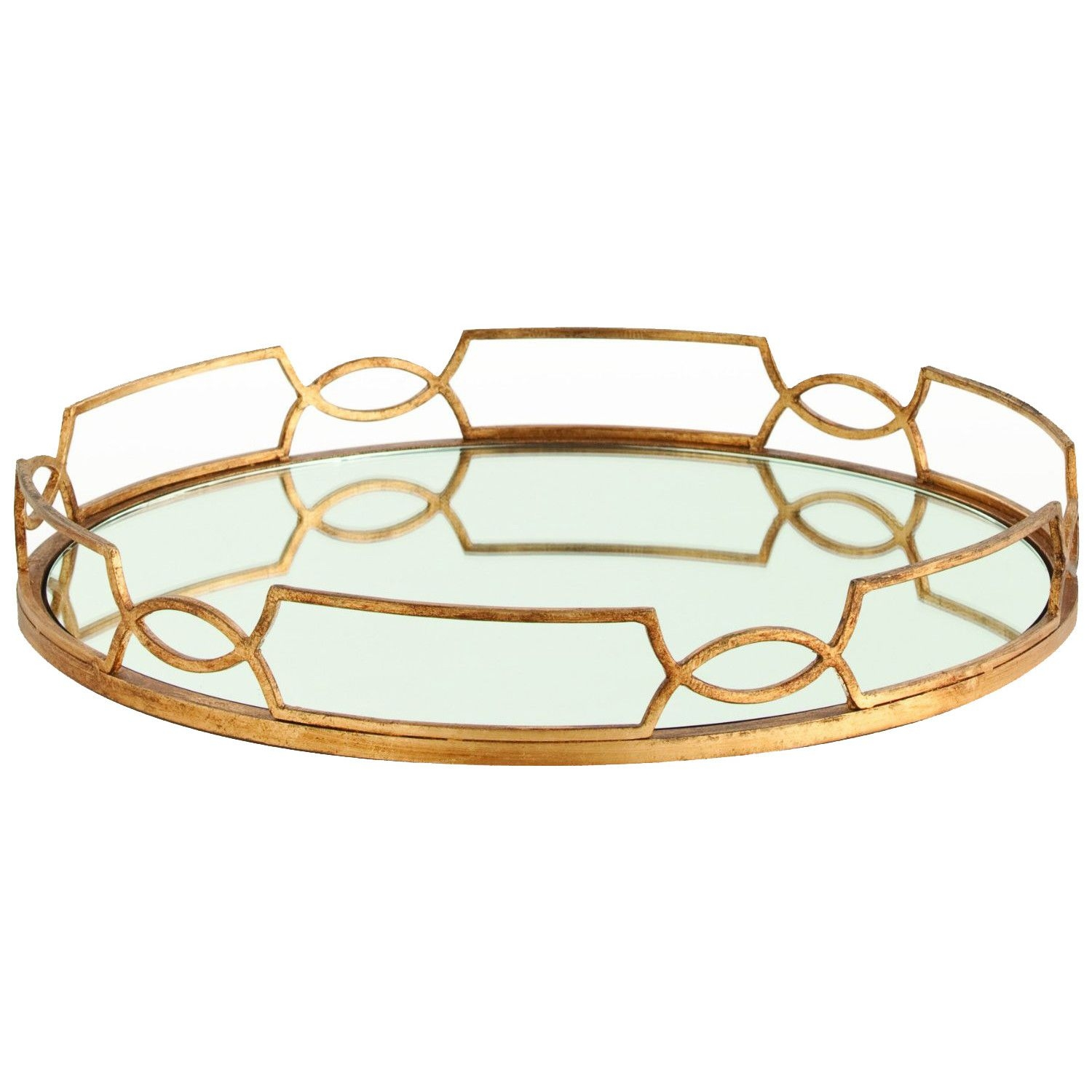 Arteriors home cinchwaist gold iron with mirror tray