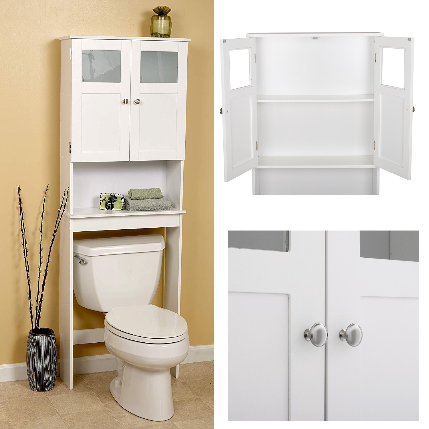 Bath Storage Space Saver Over The Toilet Shelf White Frosted