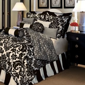 Black and white damask duvet cover queen