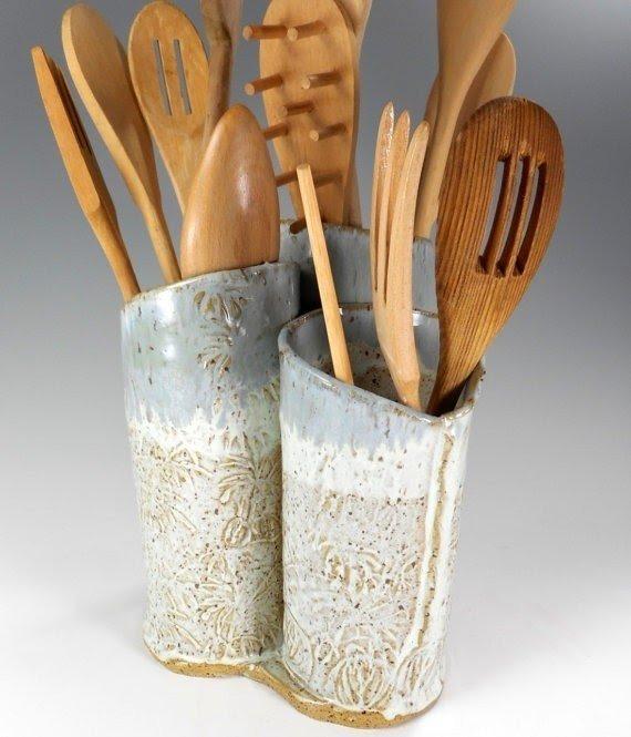 Ceramic Kitchen Utensil Organizer Pottery Utensil Holder Hand Built  Stoneware