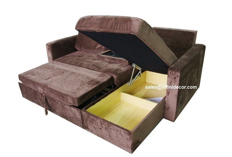 Chocolate Sectional Sofa Bed With Storage Chaise Couch Sleeper Futon Pull Out