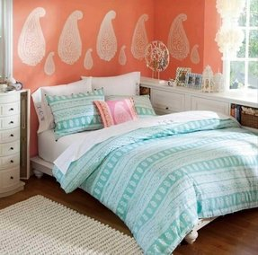 Coral and gold bedding