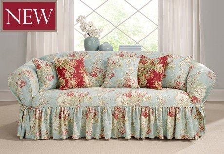 Merveilleux Retro Slipcover Will Turn Your Sofa And Living Room Into Beautiful And Cozy  Space From 50u0027. Floral Design And Light Blue Color Of Slipcover Will Add  Some ...