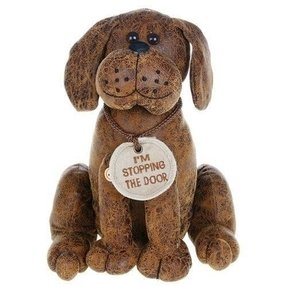 Faux leather brown dog doorstop dog door stop i stopping