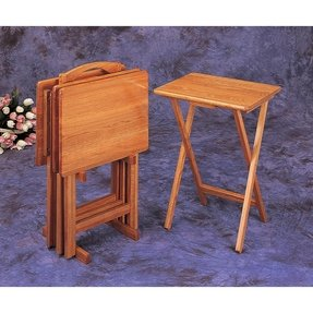 Folding tray table wood