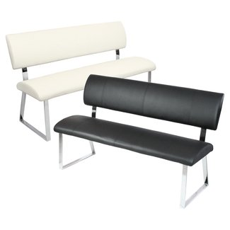 Leather bench with back