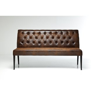 Leather dining bench with back 3