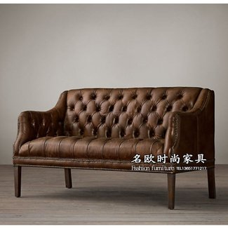 Leather settee bench