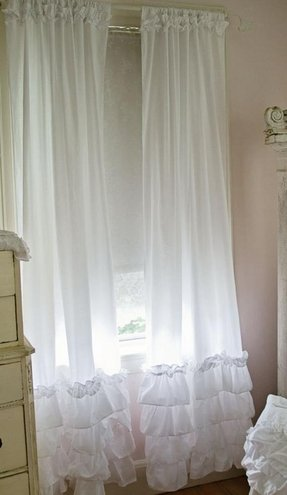 Light pink ruffle curtains