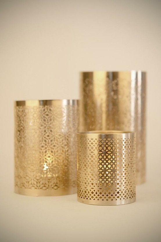 Set of 4 Retro Style Copper Metal Tea Light Holders on Black Tray Wedding Table