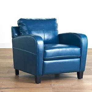 Navy Blue Leather Recliner