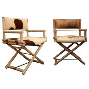 Pair of faux bamboo and brass directors chair