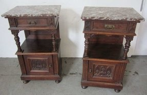 Pr eastlake victorian marble top nightstands