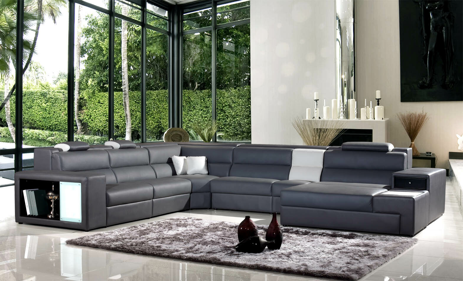 Purple Leather Sectional 20