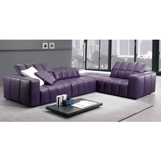 Purple Leather Sectional 3