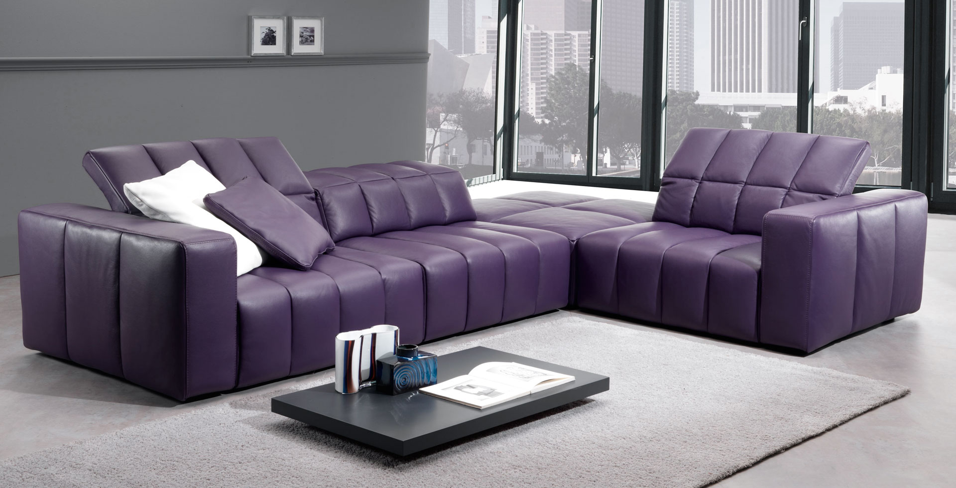 Genial Purple Leather Sectional 3