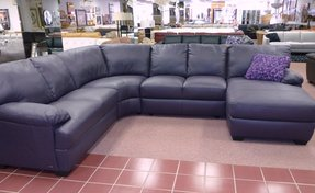 Purple leather sectional 4