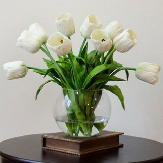 Real touch tulip arrangement with white
