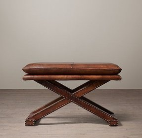 Restoration hardware leather x base stool