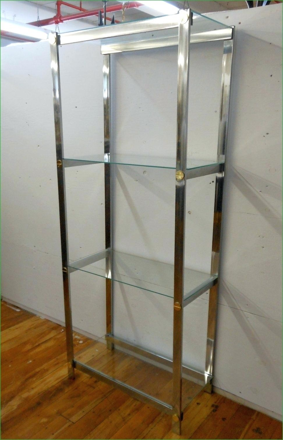 Metal and glass bookcase Narrow Retro Chrome Glass Shelves Brass Screw Detail Modern Bookcase Etagere Foter Chrome Bookcases Ideas On Foter