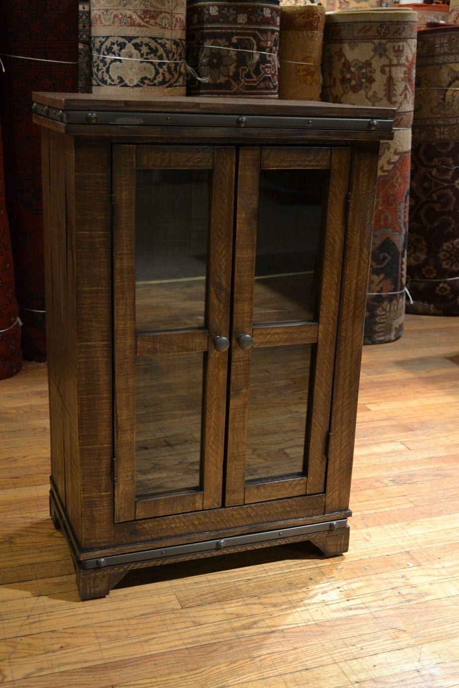 Rustic reclaimed solid wood curio cabinet bookcase wine cabinet