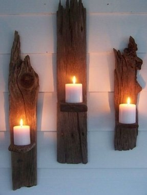 Rustic wall candle holders