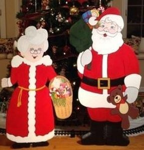 santa and mrs claus christmas holiday yard art outdoor wooden