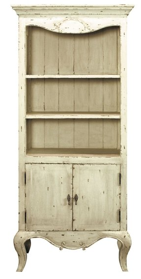Shabby Chic Style Bookcase With Cabinet At The Base In